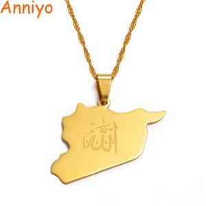 Image 1 - Anniyo 국가지도 시리아 펜던트 Witk 알라 이름 골드 컬러 시리아지도 목걸이 쥬얼리 선물 #020121