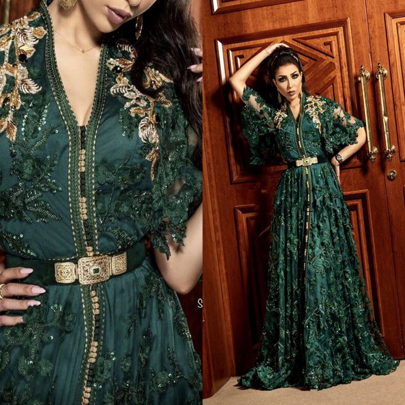 Hunter Dark Green Formal Evening Dresses With Long Sleeve Dubai Arabic Muslim Kaftan Abaya 3D Floral Lace Occasion Prom Gown