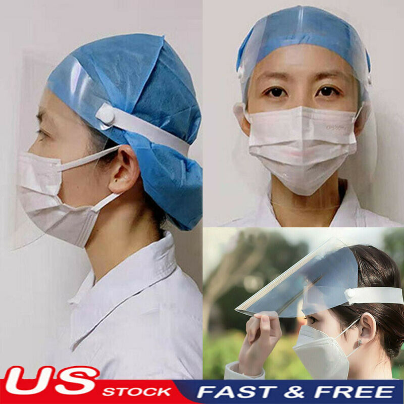 1Pc Transparent Adjustable Full Face Shield Plastic Anti-fog Protective Mask