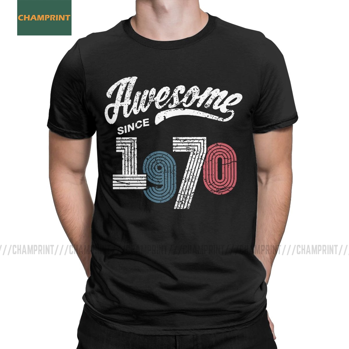 Novelty Awesome Since March 1970 T-Shirts Men Cotton 50 Years Old T Shirts Vintage Gifts For 50th Birthday Short Sleeve Tees