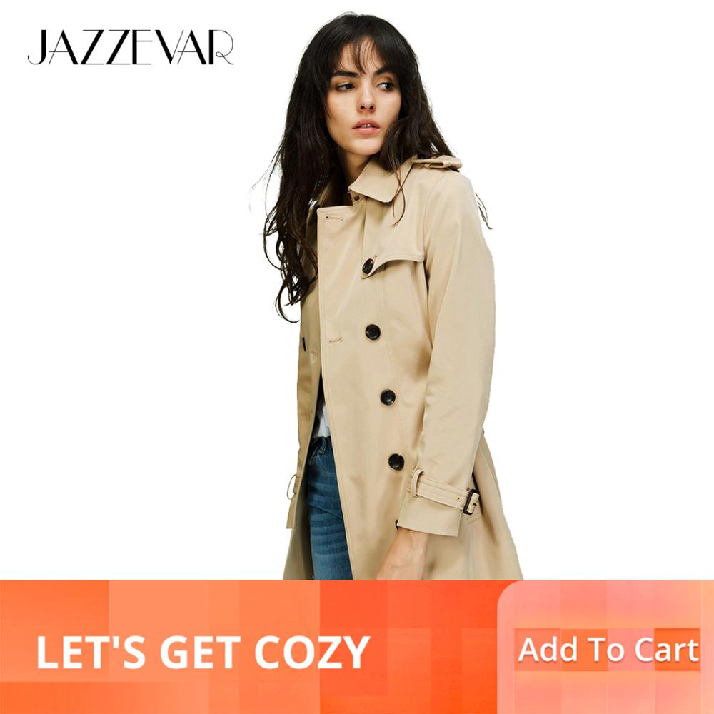 JAZZEVAR 2019 الخريف الجديدة عالية أزياء العلامة التجارية امرأة الكلاسيكية مزدوجة الصدر خندق معطف المطر ماء الأعمال قميص-في معطف مبطن من ملابس نسائية على  مجموعة 1