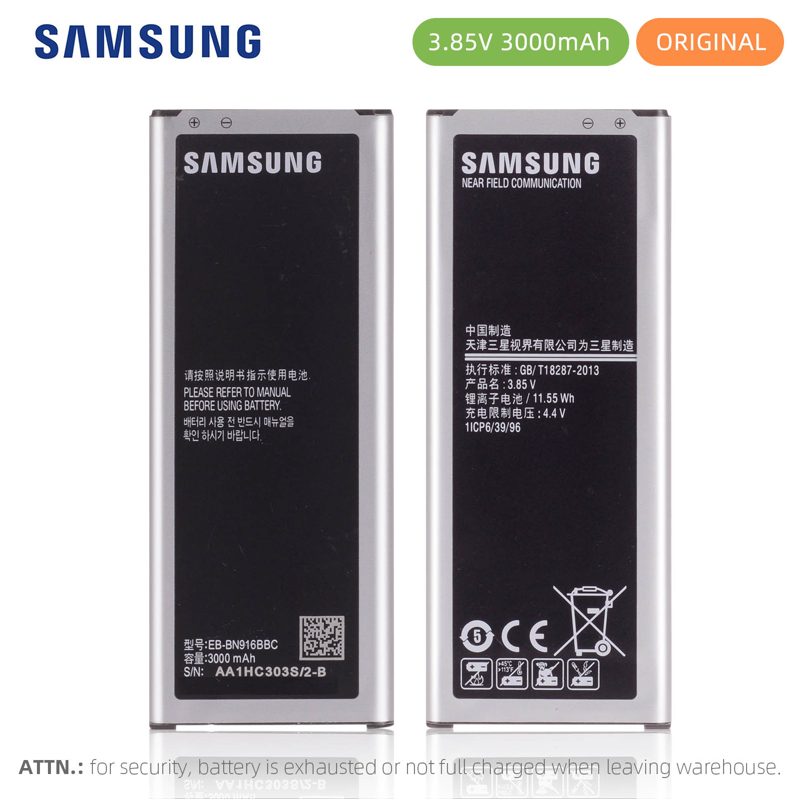 Original Samsung EB-BN916BBC <font><b>Battery</b></font> For Samsung GALAXY <font><b>NOTE</b></font> <font><b>4</b></font> N9106W N9108V N9100N 9109V With NFC <font><b>3000mAh</b></font> image