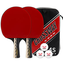 CROSSWAY 2 Pcs Professional Table Tennis Rackets 4-Star Ping Pong Paddle Suit Advanced Fast-Break Elastic Rubber(China)