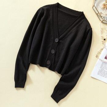 Ailegogo New 2019 Autumn Winter Women's Sweaters Cardigans Minimalist Knitting Tops Fashionable Korean Style Ladies SW8864 5