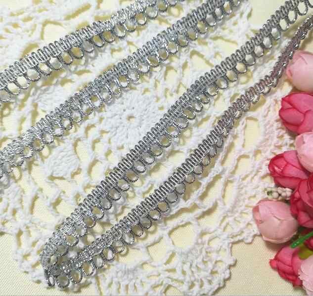 1 متر عالية الجودة أحدث الفضة الدانتيل النسيج زين شريطة من الدانتيل تقليم الأربطة الخياطة الزركشة للملابس دنتيل RT16