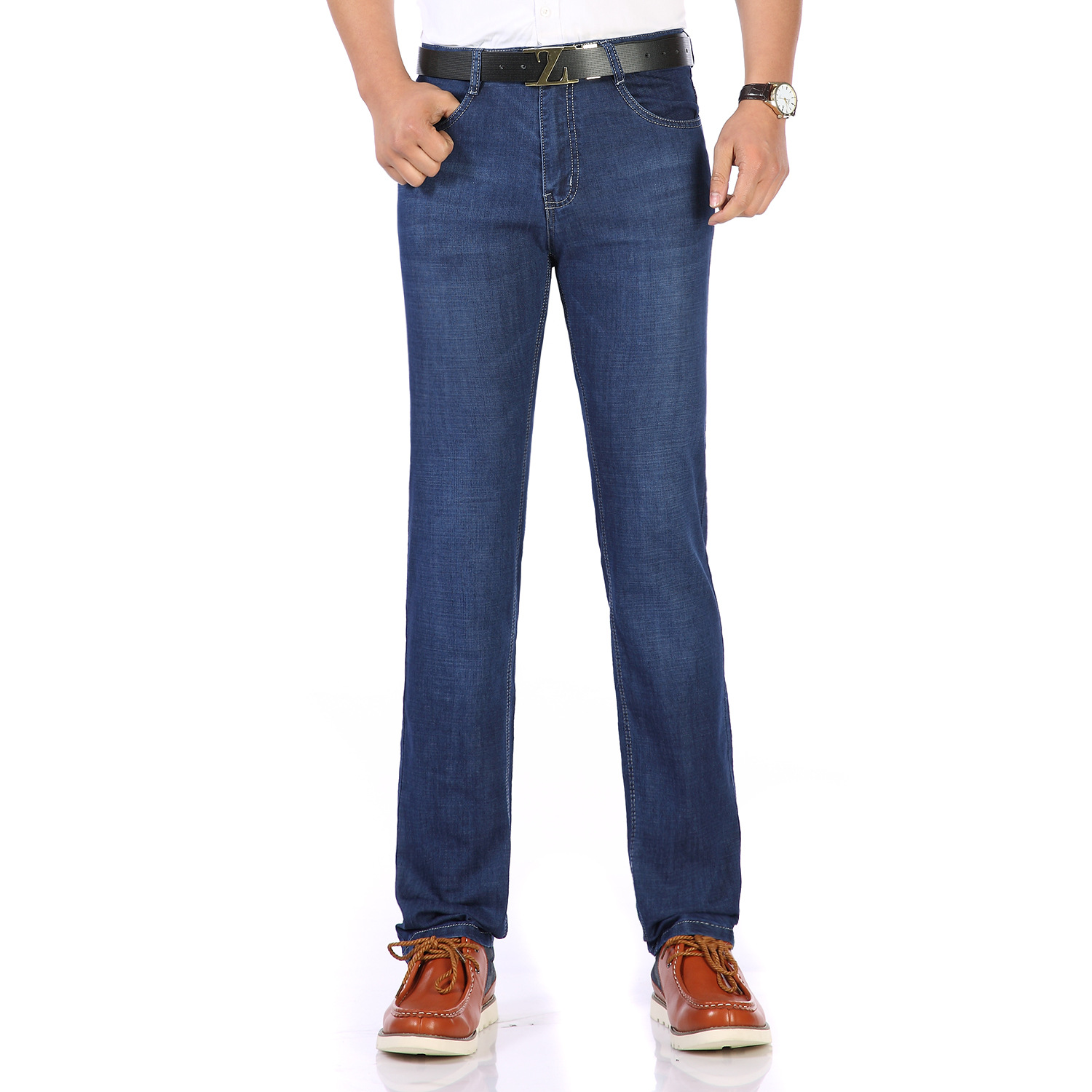 2018 Summer Wear Thin MEN'S Jeans High-waisted Straight-leg Pants Loose Elasticity Shen Dang Middle-aged