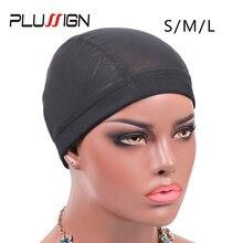 Plussign Rekbaar Spandex Black Mesh Dome Stijl Pruik Cap Groothandel 12 stks/partij Snood Weaving Caps Haar Net Voor Pruiken Maken