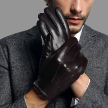 Genuien Leather Male Gloves Autumn Winter Thicken Warm Driving Sheepskin Man Fashion Simple TU2018