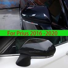 สำหรับ Toyota Prius 50 Series 2016   2019 ดัดแปลงกระจกมองหลัง Bright Strip รูปแบบคาร์บอนไฟเบอร์อุปกรณ์ตกแต่ง