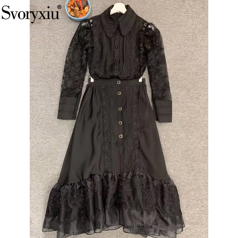 Svoryxiu 2020 Designer High-End Embroidery Black Skirt Suit Women's Long Sleeve Blouse + Ruffles Midi Skirt Party Ladies Suits