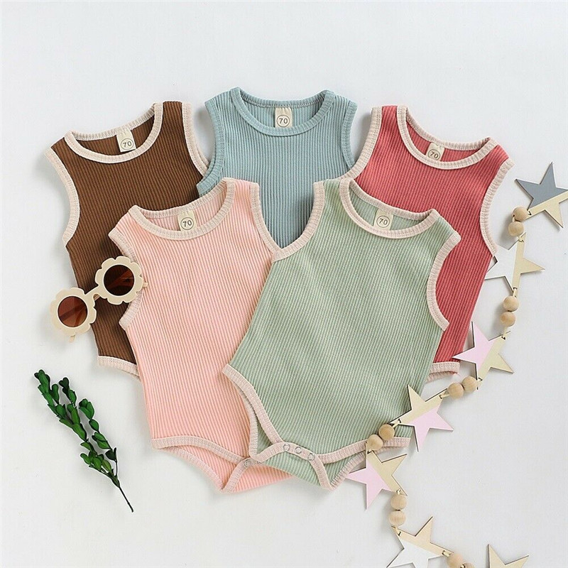 Cute Kids Newborn Baby Boy Girls Cotton Knitted Rompers Sleeveless Playsuit Jumpsuit Outfit Summer Baby Soft Clothes 3M-24M