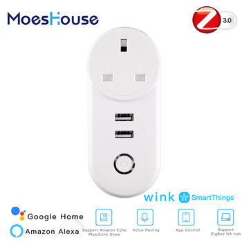 UK ZigBee3.0 Dual USB Wireless Socket Plug SmartThings App Remote Control Echo Plus Voice Control Work with Alexa Google Home фото