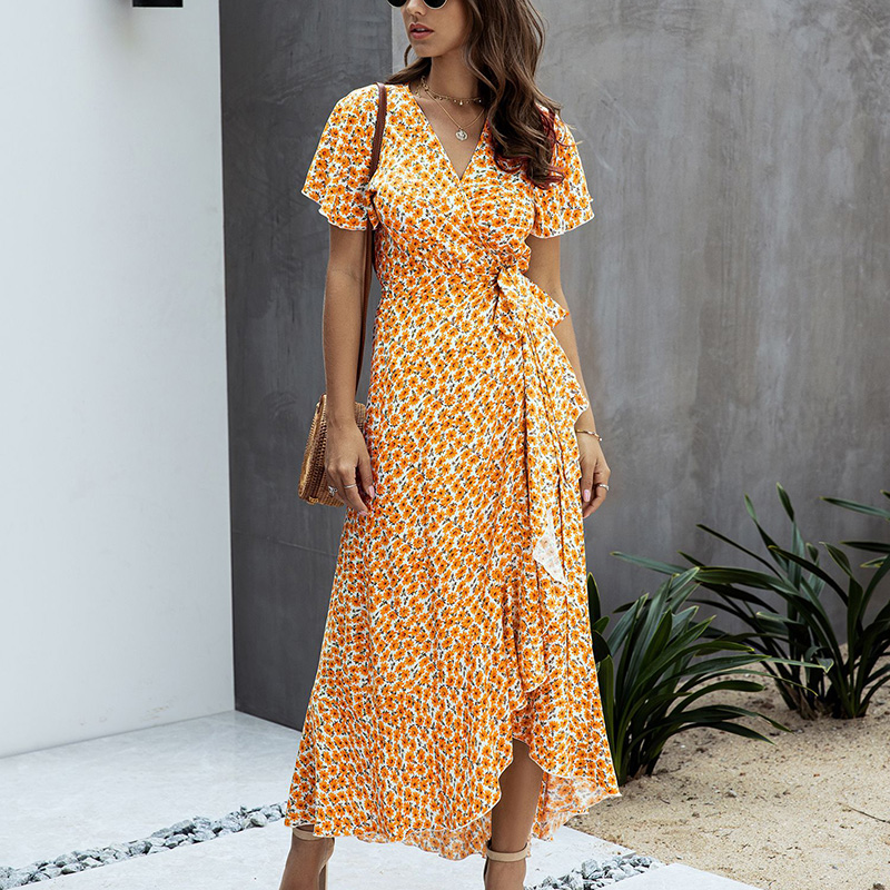 SWQZVT 2020 Fashion Short Sleeve Floral Print Women Dress New Ladies Beach Summer Dress Casual Women Long Maxi Dresses Vestidos (42)