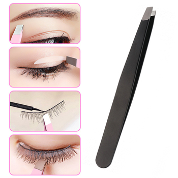 1Pcs Eyebrow Tweezers Stainless Steel Facial Epilator Eyebrow Trimmer Color Pink Black Eyelash Curle
