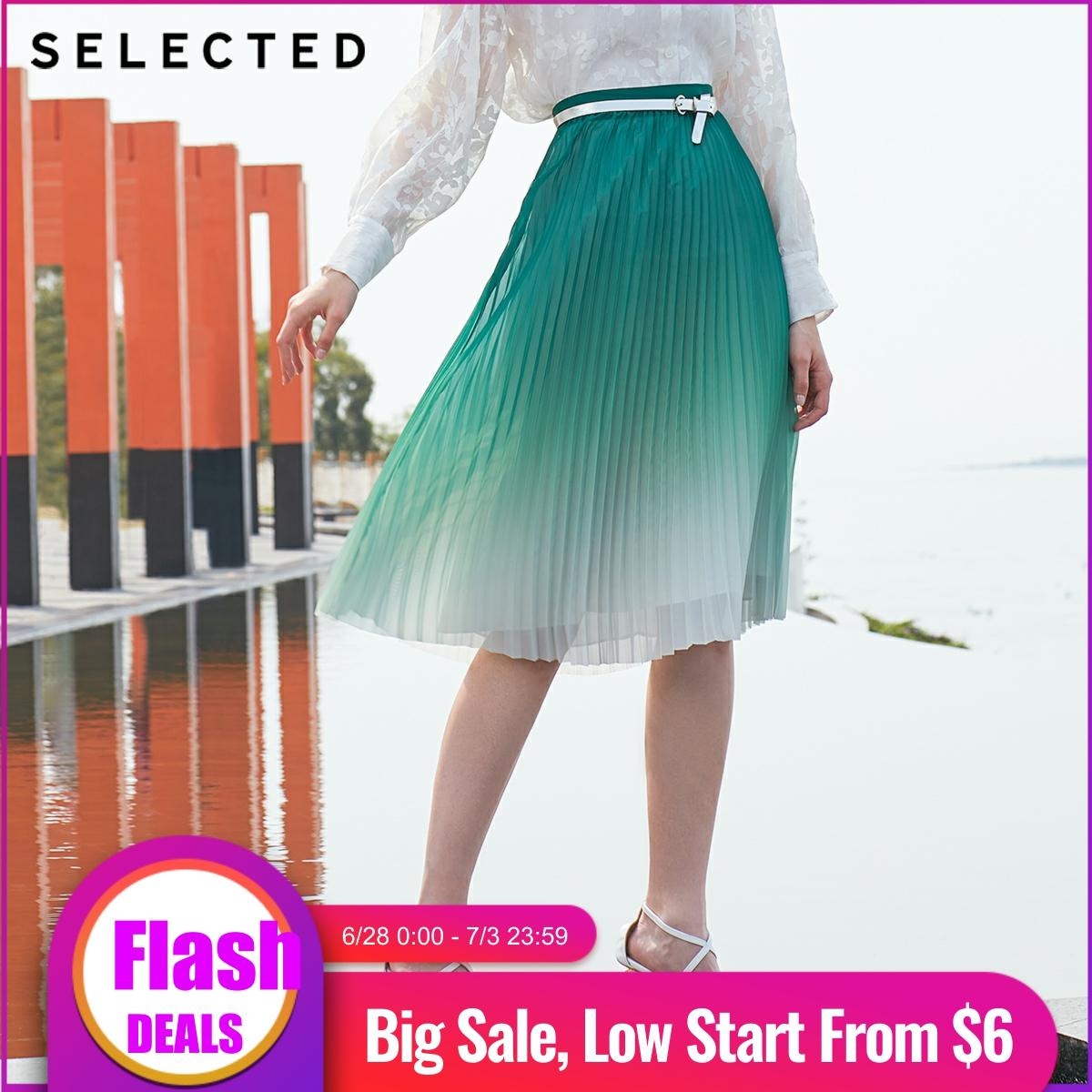 SELECTED Women's Mid-length Gradient Pleated Skirt S|41924C509