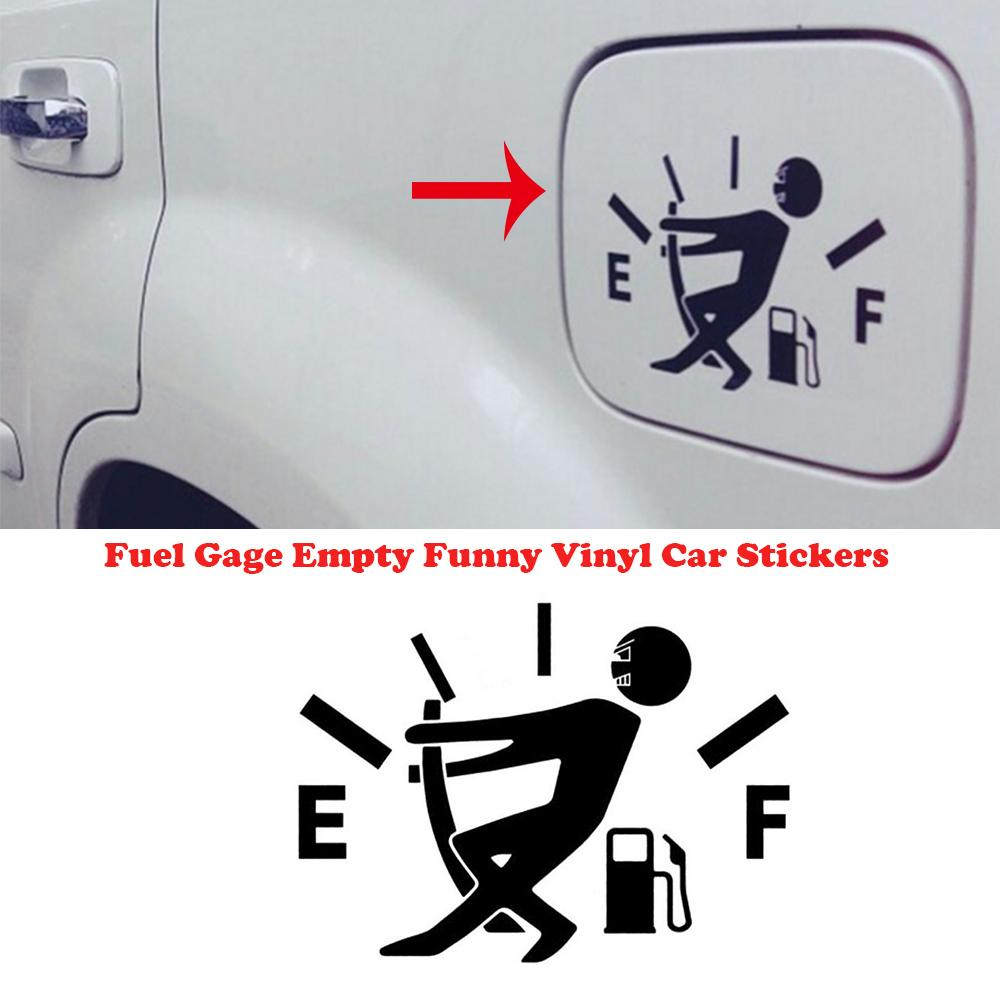 12cm*9cm Car Styling Car Sticker High Gas Consumption Decal Fuel Gage Empty Funny Vinyl Sticker For Car Fuel Tank Cover