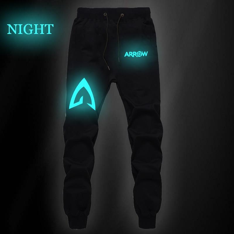 Mens Fashion Luminous Autumn Winter Casual Arrow Printed Pants Men's Cotton Straight Sport Long Trousers