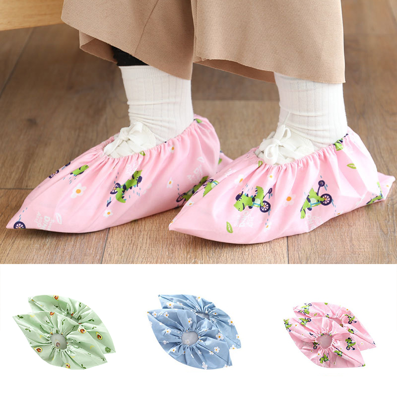 1 Pair Thicken Reusable Elastic Shoe Covers Home Indoor Anti-skid Overshoes Students Non-woven Solid Color Dust Proof Feet Cover