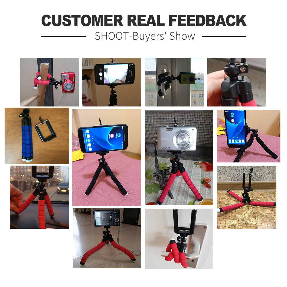 Adjustable Cell Mobile Phone Stand Holder Desk Tripod Cute Desktop For Iphone 8 Video Flexible Sponge Octopus Mini Camera Tripod (3)