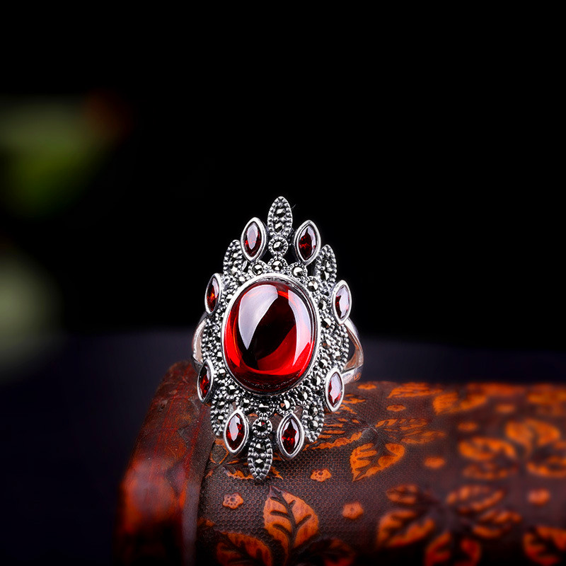 Vintage Ladies Red Zircon Finger Ring Classic Bride Love Wedding Rings For Women Elegant Real Sterling Silver Adjustable Ring