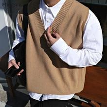Suéter Chaleco de los hombres de cuello en V liso Simple Casual 2XL tamaño primavera otoño chalecos Chic-Encuentro de estilo Preppy diario prendas de vestir nuevo