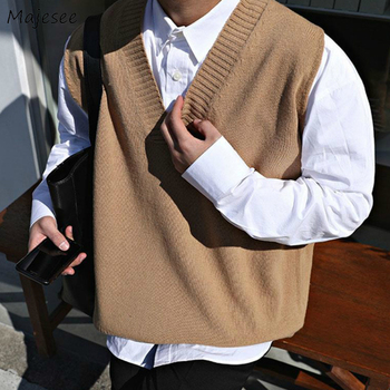 Sweater Vest Men V-neck Solid Simple Casual 2XL Oversize Spring Autumn Mens  Vests Chic All-match Preppy Style Daily Outwear New-Leather bag