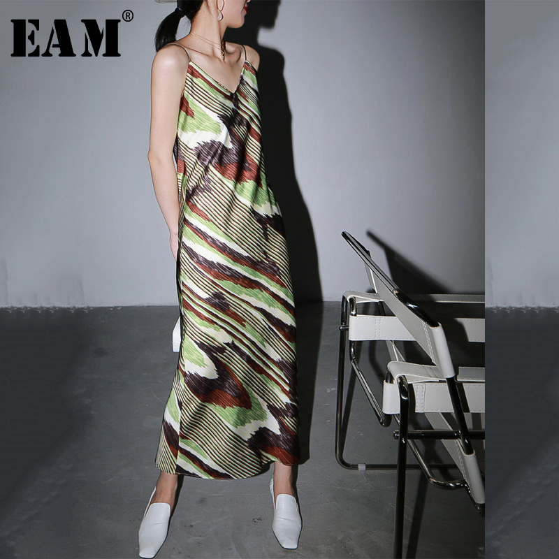 [EAM] Women Green Pattern Printed Temperament Spaghetti Strap Dress New Sleeve Loose Fit Fashion Tide Spring Autumn 2020 1R961