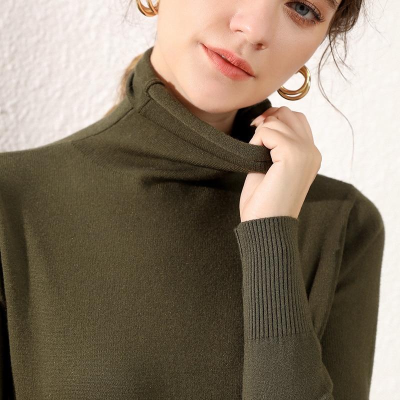 Women's Sweater 2019 Turtleneck Pile Collar Full Sleeves Fashionable Autumn Winter Pullover Slim Stretch Warm Soft Wool Jumper