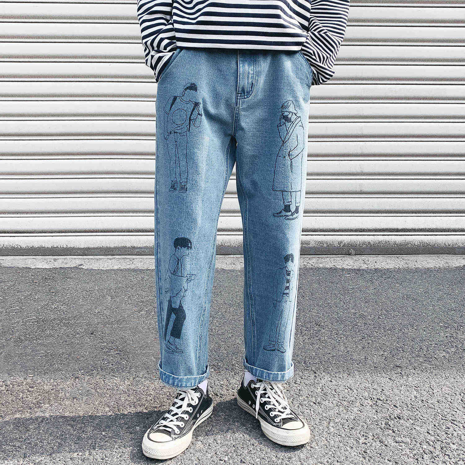 2019 Men's Cartoon Printing Leisure Casual Pants Work Cargo Pocket Wash Jeans Baggy Homme Mens Blue Trousers Big Size M-5XL