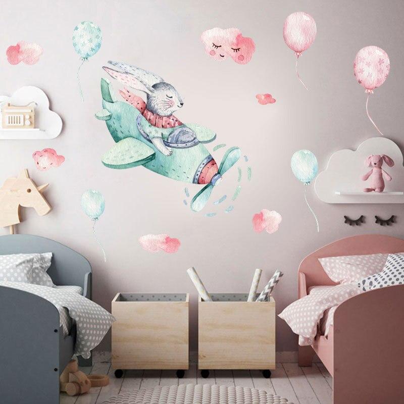 Мультяшные акварельные наклейки на стену с изображением кролика облака воздушного шара для детской спальни детского сада лестницы домашни...