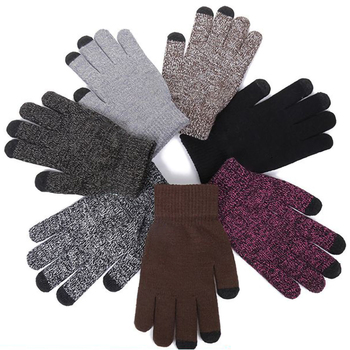 Winter Cycling Gloves Anti-Slip Knitted Thermal Warm Touchscreen Gloves Elastic Cuff Soft Wool Lining Stretchy Cycling Gloves image
