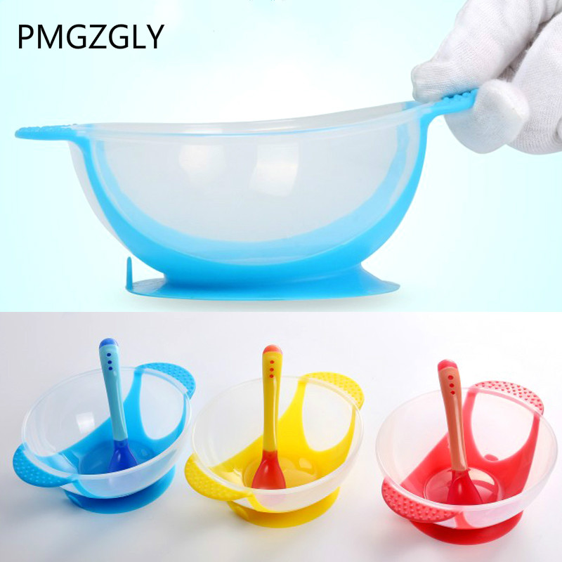 Learning Dishes Service Plate/Tray Suction Cup Baby Dinnerware Set Temperature Sensing Feeding Spoon Child Tableware Food Bowl