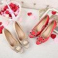 Xiu/свадебные туфли в китайском стиле туфли ручной работы на массивном каблуке с острым носком свадебные туфли красные свадебные туфли