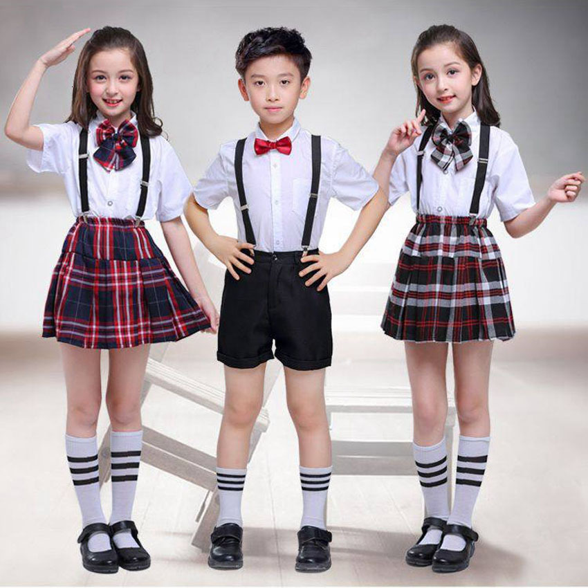 100-170cm Kids Clothing Set Tops+skirt+strap Teenager Girls Plaid Student School Uniform For Children Boys Choir Costumes