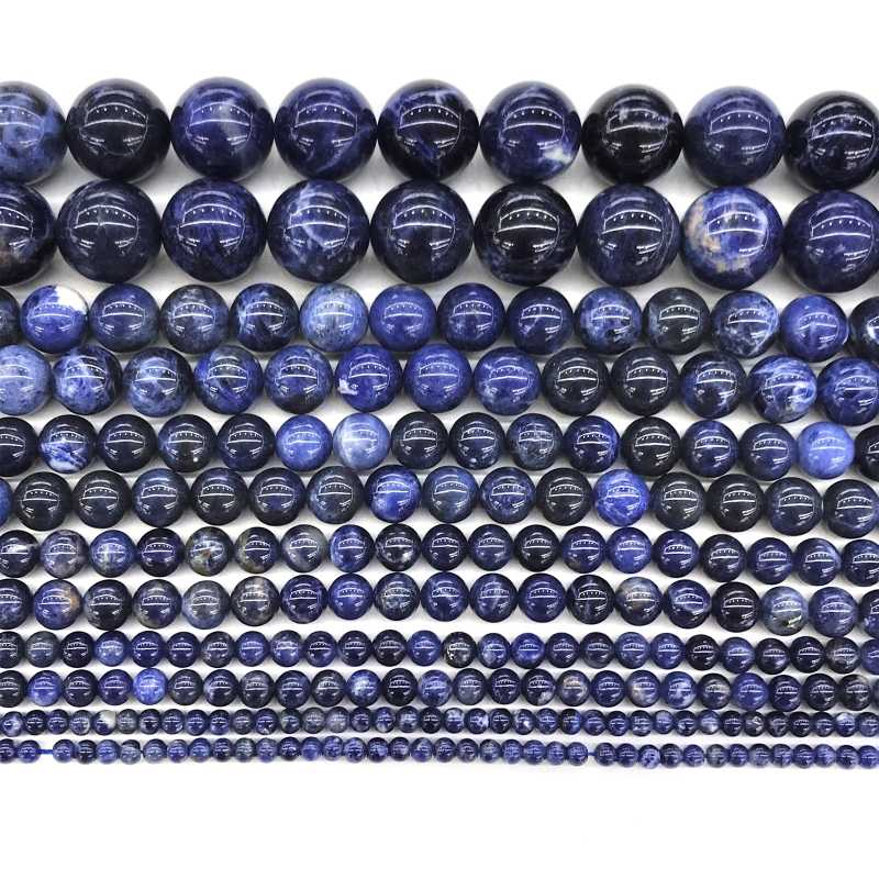 """טבעי אבן Sodalite עגול חרוזים 4 6 8 10 12mm Loose חרוזים אבן על 15 """"סיטונאי עבור תכשיטים עיצוב DIY ביצוע צמיד"""