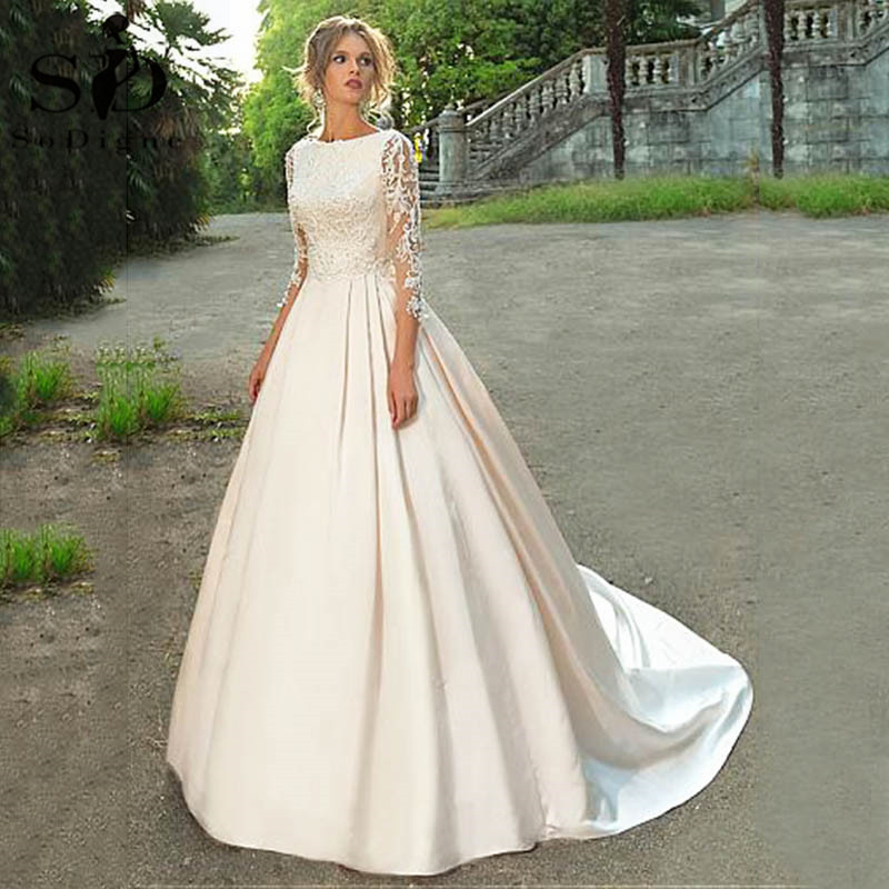 2020 Wedding Dress Long Sleeve A-line Lace Appliques Satin Bridal Dress With Beaded Princess Wedding Dress Vestido De Noiva