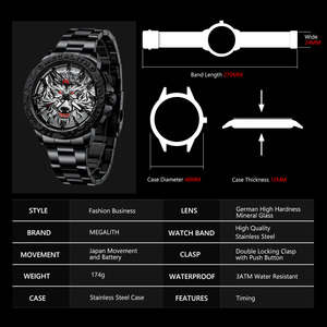 Image 4 - 2020 New Watch Men MEGALITH Wolf Head Embossed Quartz Watch Men Sport Waterproof Stainless Steel Wrist Watches Relogio Masculino