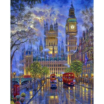 London City Scape Painting By Numbers Kit Rainy Night Big Ben Westminster