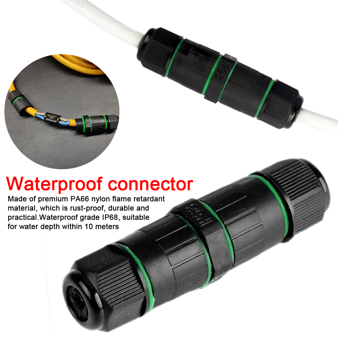 Waterproof Connectors 3 Pin IP68 3-7mm 250V & 10A Electrical Wire Cable Solar Outdoor LED Light Connector Junction Box
