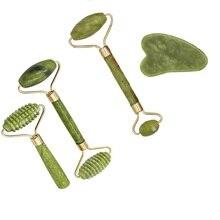1 шт., 4 размера, роликовая пластина для массажа лица, двойная/одинарная головка, Нефритовый каменный массажер для глаз, лица, шеи, тонкая подтяжка, расслабляющие инструменты для похудения