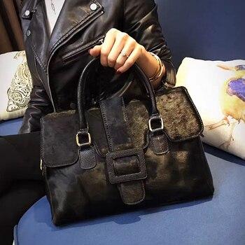 Famous Brand Horse Hair Women Bags Autumn Winter Leather Banquet Tote Luxury Handbag Fashions Shoulder Crossbody Bag Female 1