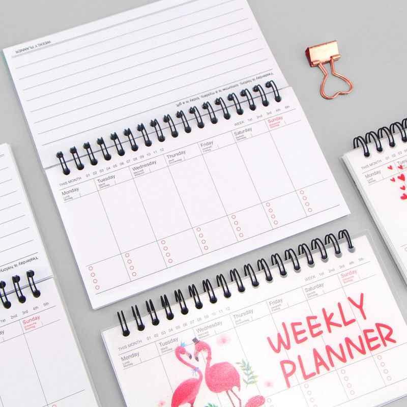 Kawaii Cartoon Spoel Wekelijkse Planner Papier Spiraal Notebook Agenda Zuivel Cut Animal Memo Notepad Voor Kids Gift Koreaanse Briefpapier