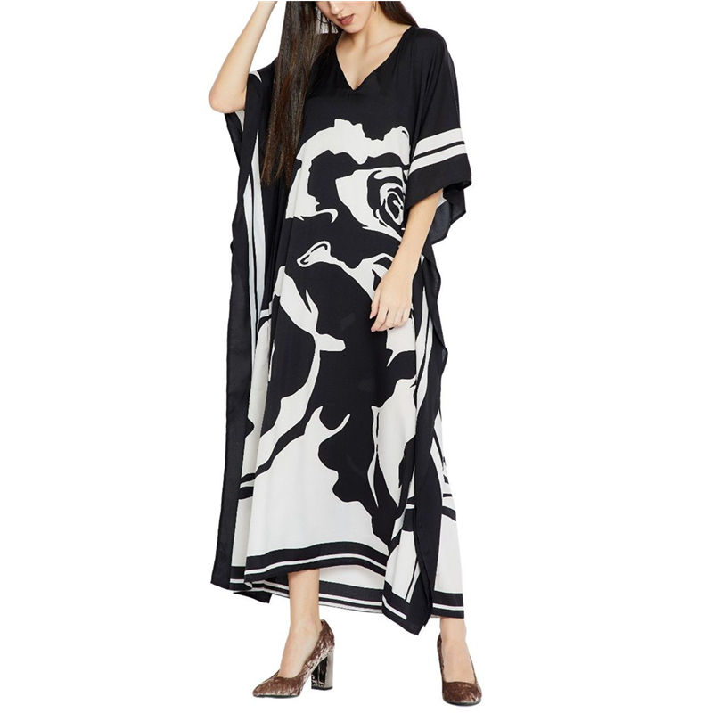 2020 Plus size Beach Cover ups Bohemian Black Print V neck Long Dress Beach Tunic Women Sarong Beach Kaftan Swimsuit Cover UpCover-up   -