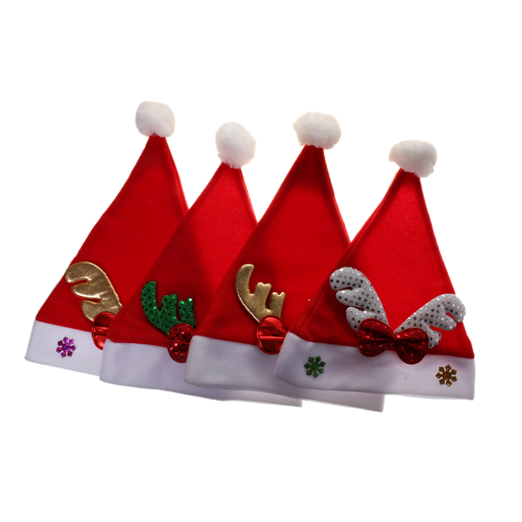 4pcs Christmas Hat Child Kid Santa Xmas Party DressUp Holiday Accessories