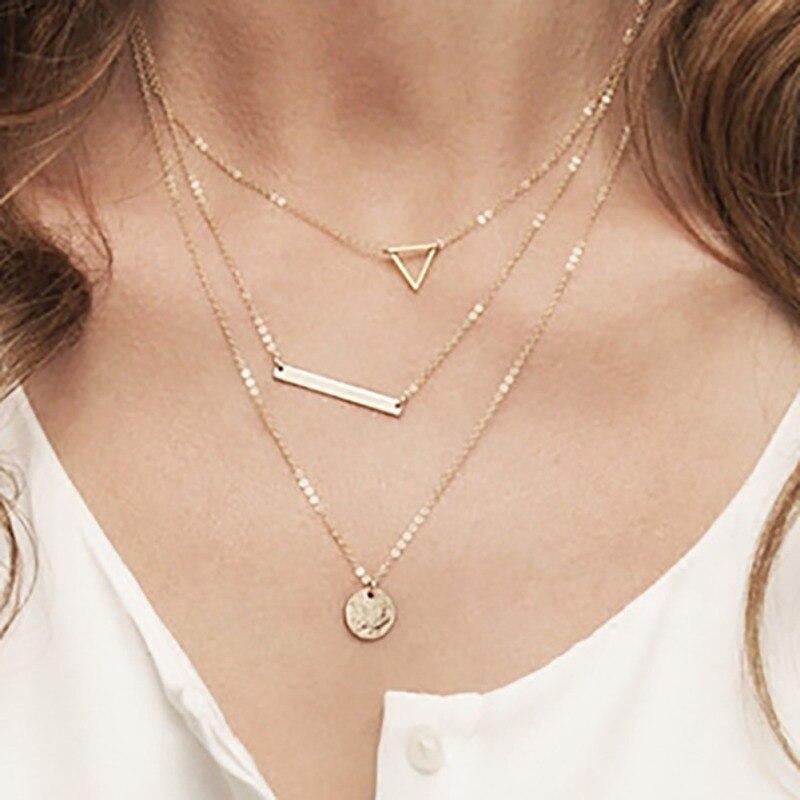 Collar Cadena de oro plateado 3 capa huecos Triángulo Colgante Collar Largo