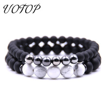 UOTOP 2pcs/set Handmade Women Men Bracelet Jewelry Charm Black Scrub Beads Natural Stone Bracelets Couple Gift For Lover
