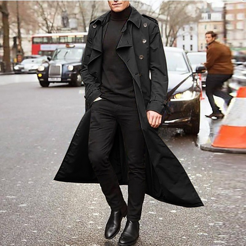 Outwear Coats Jacket Windbreak Vintage Black Autumn Men Long Casual New Solid Business title=