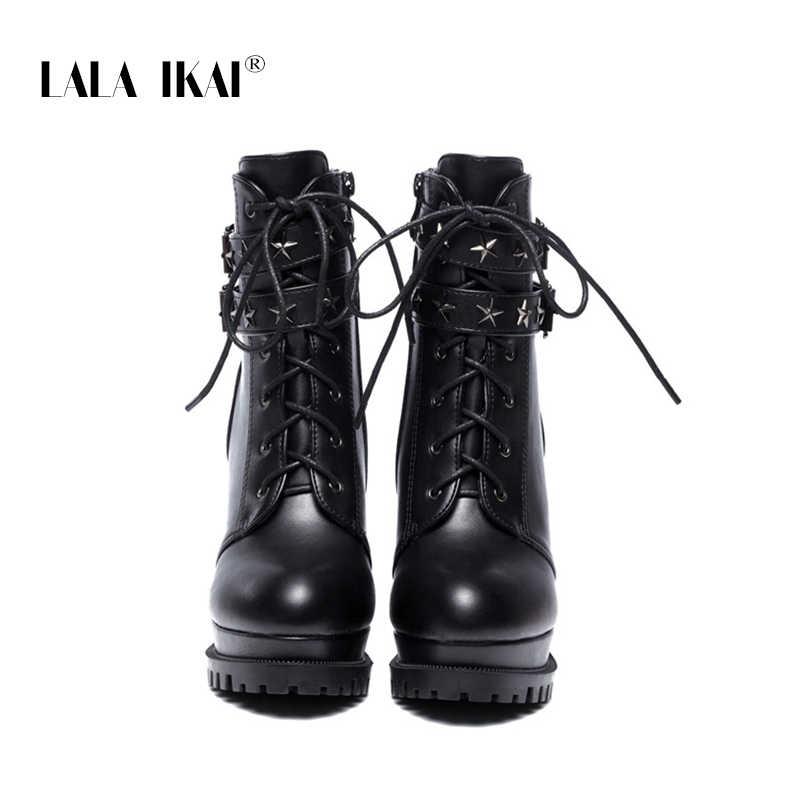 LALA IKAI 2020 bayan yarım çizmeler seksi Platform pompaları kış siyah topuklu yuvarlak ayak PU deri moda bayan ayakkabıları XWC6553 -4