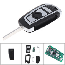 433MHz 4 Buttons Portable Keyless Uncut Flip Remote Key Fob with ID44 / PCF7935 Chip and HU92 Blade Fit for BMW Car Vehicle