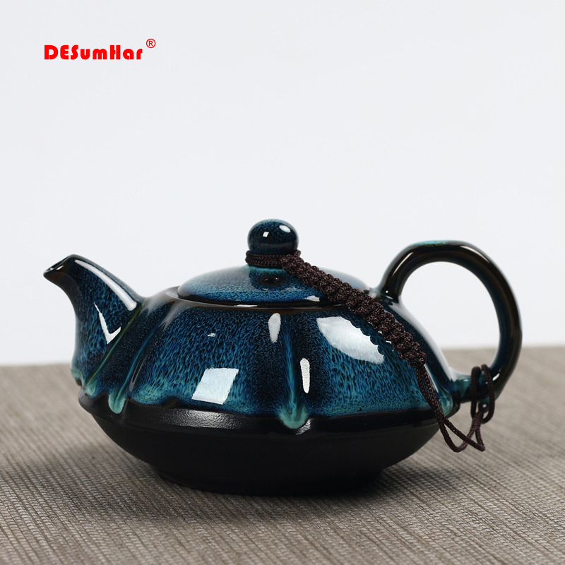 Jun Kiln Change Glaze Teapot,temmoku Glaze Pot Handmade Kettle Kung Fu Teapot Chinese Tea Ceremony Supplies Teapot 180ml